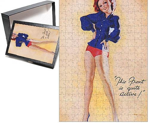 [Photo Jigsaw Puzzle of WWII - Pin-up showing a lot of leg] (1940s Pin Up Girl)