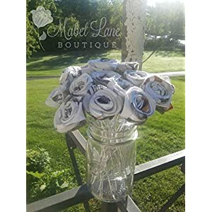 White Camo Rosebuds for Wedding or Home Flower Arrangement or Bouquet 110