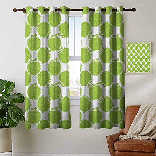 petpany Modern Farmhouse Country Curtains Apple,Abstract Sketch of Granny Smith Silhouettes Orchard Produce Fruitarian Diet, Apple Green White,Design Drapes 2 Panels Bedroom Kitchen Curtains 42