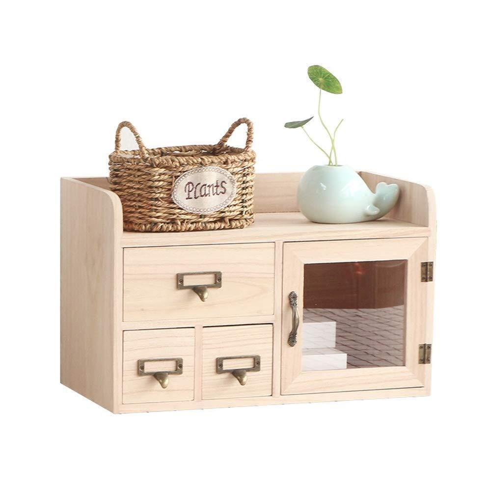 RANRANJJ Creative Wood Storage Box Desktop Organizer-Tier Mini Desk Makeup Organizer with Drawers
