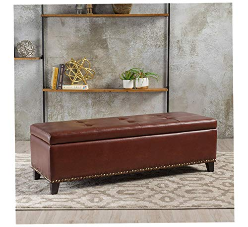Wood & Style Furniture Charleston Brown Leather Storage Ottoman, Home Office Commerial Heavy Duty Strong Décor