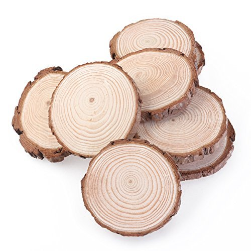 OULII Wood Slices Tree Log Discs Rustic Wedding Christmas Ornaments, 7-9CM, 10pcs ()