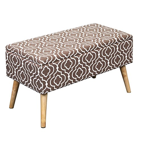 """Otto & Ben 30"""" Storage Ottoman Bench with EASY LIFT Top, Upholstered Shoe Ottomans for Entryway, Bedroom, and Outdoor, Moroccan Brown"""