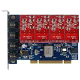 Quad Span Analog FXO Card TDM Card with 4 FXO Modules,Supports Issabel Asterisknow FreePBX Asterisk Card PCI tdm400p,For VoIP PBX Business Phone System PABX Appliance