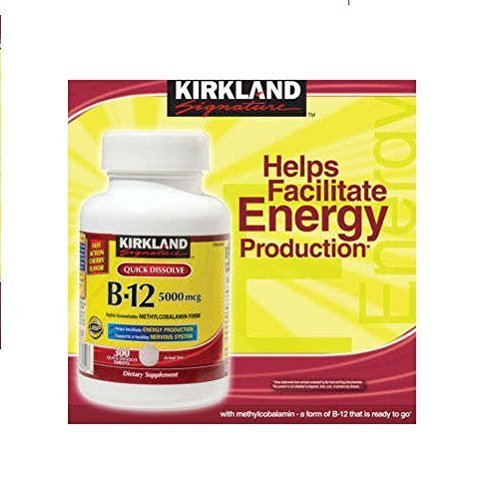 Tablets 5000 Sublingual Mcg (Kirkland Signature Sublingual B-12 5000 mcg, 300 Tablets , Pack of 3)