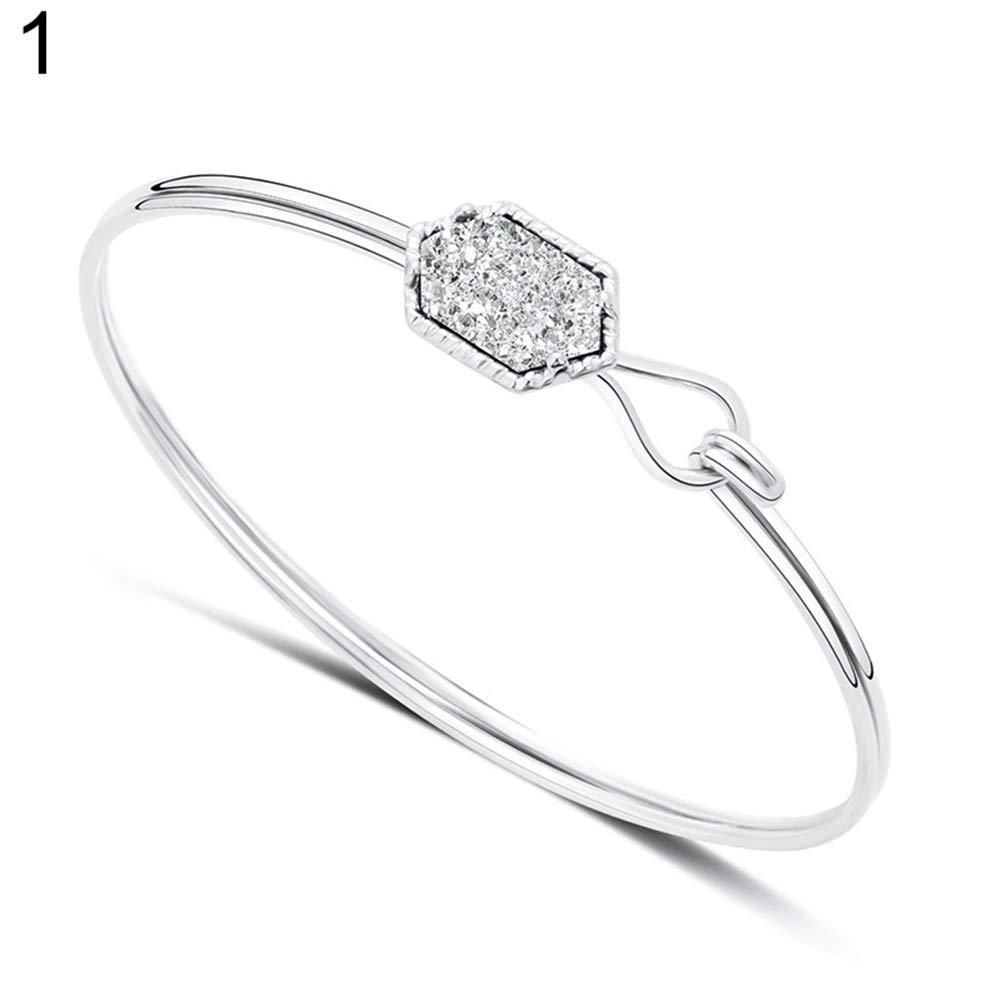 Everrikle Bracelet Bangle Jewelry,Fashion Stone Faux Turquoise Decor Alloy Open Bangle Bracelet Women Jewelry Gift
