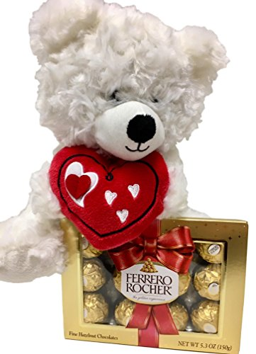 Plush White Teddy Bear With Red Heart, Ferrero Rocher Chocolate Candy - Valentine, Get Well, Student Gift (White Bear)