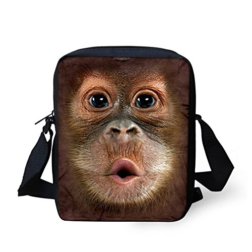 HUGS IDEA Monkey Face 3D Printed Mini Crossbody Small Shoulder Bags Satchel Handbag Wallet Purse Cell Phone Pouch