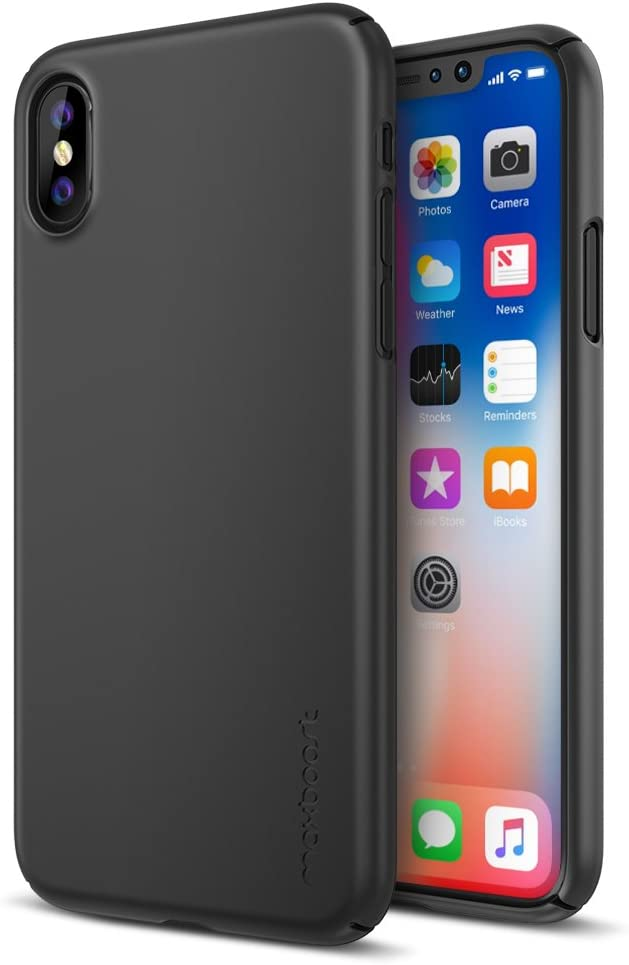 [Upgraded] Maxboost mSnap Case Designed for Apple iPhone Xs/iPhone X [Black] Extreme Smooth Surface [Scratch Resistant] Matte Coating for Apple iPhone Xs & iPhone X