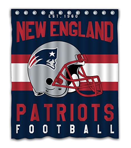 (Weckim Custom New England Football Team Waterproof Fabric Shower Curtain Colorful Design for Bathroom Decor 12 Holes Size 60x72 Inches)