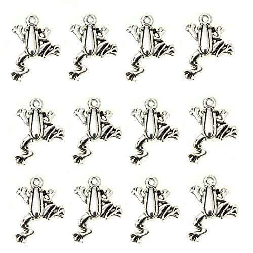 Monrocco 100 Pcs Antique Silver Frog Charms Pendant Bulk for Bracelets Jewelry Making