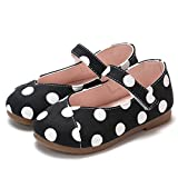 Ankola Girl Shoes Baby Fashion Princess Dot Print Dance Leather Single Shoes Soft Sole Princess Shoes (US:8.5, Black)