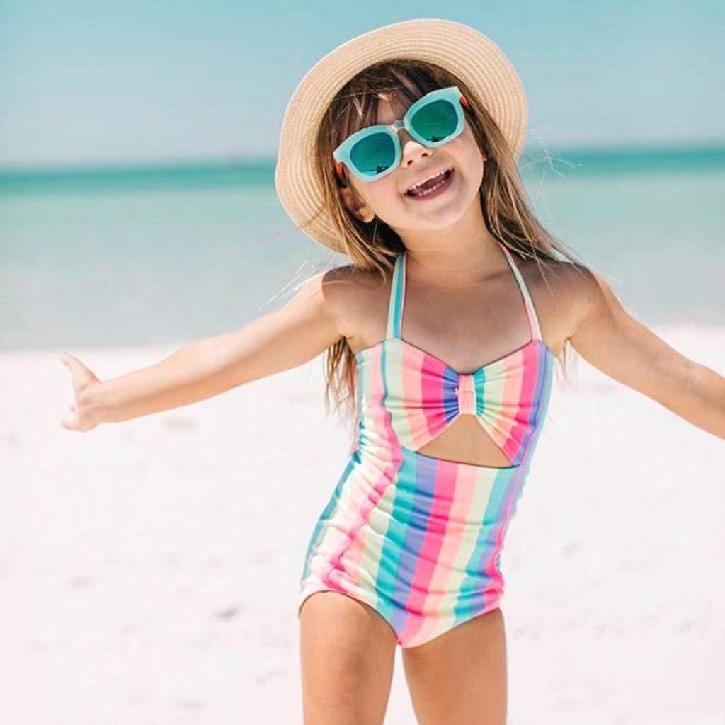 Sallydream Ba/ñadores ni/ña Trajes de ba/ño ni/ña Stripe Rainbow Swimwear Swimsuit Beach Romper Clothes