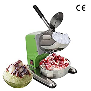 ROVSUN Ice Shaver Machine Commercial Countertop Dual Blade 220lbs/h, Stainless Steel Ice Crusher Electric Shaved Ice Machine 1400 rpm Snow Cone Maker(Green)
