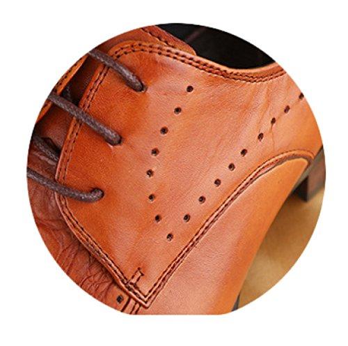 Shoes Oxford Formal Scarpe Marrone Casual Business Top Low Lace Estate Scarpe In Primavera Brown Moda WKNBEU Pelle Derby gqtBw4