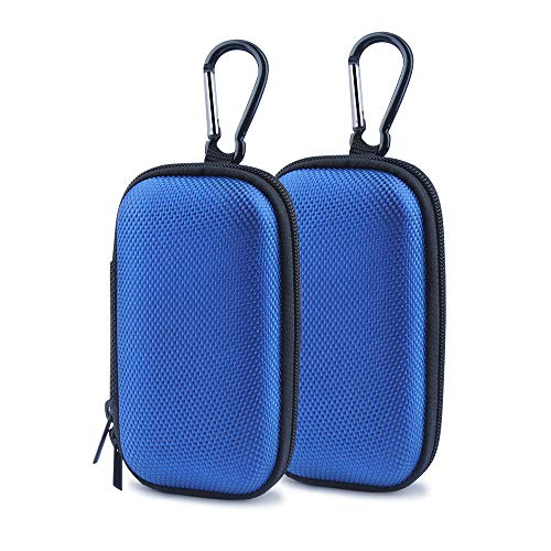 Hootek Durable MP3 Player Case, 2Pack Portable Clamshell Headphones Cover, Holder with Metal Carabiner Clip for MP3 Players, USB Cable, Earphones, Memory Cards, U Disk, Lens Filter, Keys, Coins, Blue (Case Mp3 Cases)