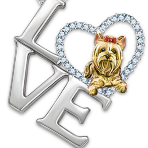 Pendant Necklace: Love Is A Yorkie by The Bradford Exchange