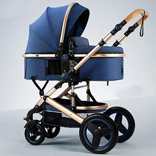 Compact Convertible Luxury Strollers, Pushchair Stroller,Portable Pram Carriage Multifunctional Pushchair ,5-Point Harness And High Capacity Basket (Color : Blue)