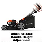 "Yard Force YOLMX225300 120V 2.5Ah x 2 Lithium-Ion 22"" SP 3-in-1 Mower Torque-Sense, One Size, Black/Orange 15 POWERFUL, RELIABLE PERFORMANCE + 5-YEAR WARRANTY: The 120vRX brushless motor has the torque of a gas engine to cut through all grass types and conditions with up to 100 minutes of runtime on a single charge with two batteries installed. Dual battery ports operate either battery when two are installed. When one is completely discharged, the sensor powers the other battery to keep you going. The mower operates with only one battery installed if you need to charge the other battery while cutting. TORQUE-SENSE TECHNOLOGY: Sensors built in to the motor receive feedback while you are cutting and sense when more power is needed for thick, dense or wet grass to increase the blade speed for a premium cut. This gives you power when you need it and saves energy when you don't to extend the runtime even longer. SELF-PROPELLED / SPEED ADJUSTABLE DRIVE: Step up to self-propelled power drive with a simple control lever on the handle to reduce effort and achieve a perfect cut every time! Adjust the speed with the touch of a lever at your fingertips. Self-propelled drive is essential for yards with hills and slopes of all degrees to maintain a consistent cut and is safer by providing more control during operation."