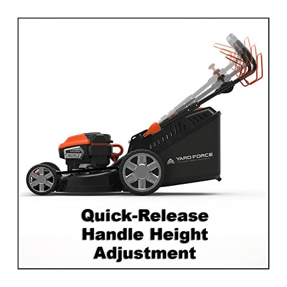 "Yard Force YOLMX225300 120V 2.5Ah x 2 Lithium-Ion 22"" SP 3-in-1 Mower Torque-Sense, One Size, Black/Orange 7 POWERFUL, RELIABLE PERFORMANCE + 5-YEAR WARRANTY: The 120vRX brushless motor has the torque of a gas engine to cut through all grass types and conditions with up to 100 minutes of runtime on a single charge with two batteries installed. Dual battery ports operate either battery when two are installed. When one is completely discharged, the sensor powers the other battery to keep you going. The mower operates with only one battery installed if you need to charge the other battery while cutting. TORQUE-SENSE TECHNOLOGY: Sensors built in to the motor receive feedback while you are cutting and sense when more power is needed for thick, dense or wet grass to increase the blade speed for a premium cut. This gives you power when you need it and saves energy when you don't to extend the runtime even longer. SELF-PROPELLED / SPEED ADJUSTABLE DRIVE: Step up to self-propelled power drive with a simple control lever on the handle to reduce effort and achieve a perfect cut every time! Adjust the speed with the touch of a lever at your fingertips. Self-propelled drive is essential for yards with hills and slopes of all degrees to maintain a consistent cut and is safer by providing more control during operation."