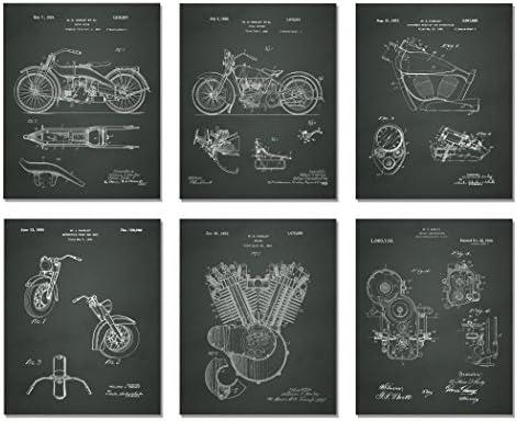Harley Davidson Patent Art Prints – Set of Six Photos (8 X 10, CHALKBOARD)