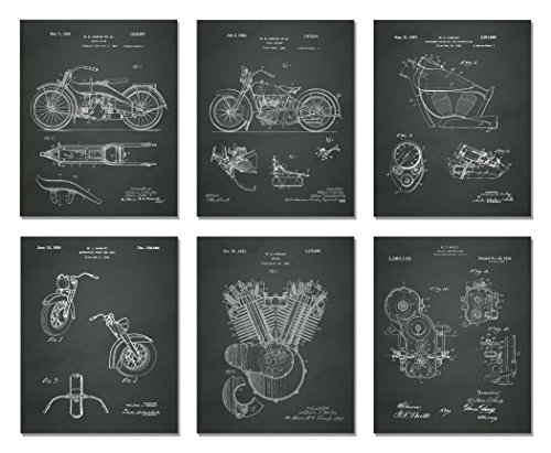 Harley Davidson Patent Art Prints - Set of Six Photos (8 X 10, CHALKBOARD) - Harley Motorcycle Art