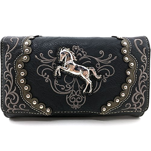 Justin West Horse Floral Embroidery Square Stud Croc Wristlet Trifold Wallet Attachable Long Strap ()