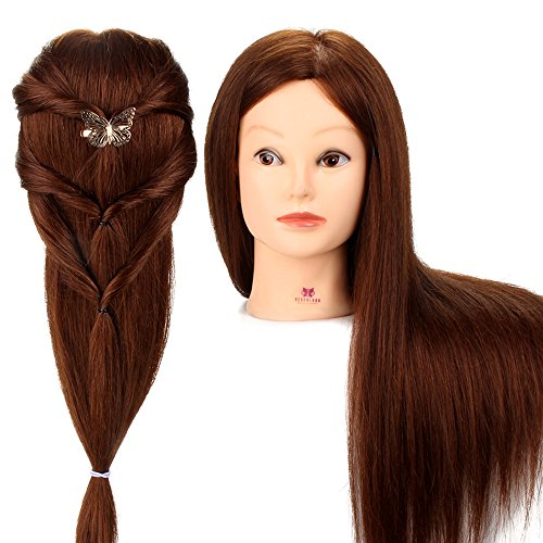 "Price comparison product image Neverland Beauty 26"" 90% Real Human Hair Cosmetology Hair Cutting Braiding Manikin with Table Clamp"