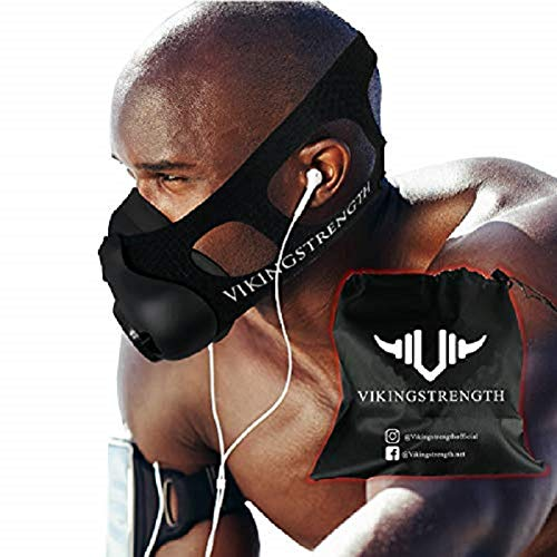 Vikingstrength New 24 Levels Training Workout Mask for Running Biking MMA Endurance with Adjustable Resistance, High Altitude Elevation Mask for Air Resistance Training (Improved Design) (Running Workouts To Increase Speed And Endurance)
