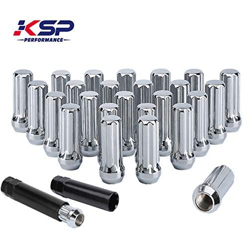 KSP 14mm-1.5 Tuner Wheel Lug Nuts, M14-1.5 Wheel Lug Nuts,Chrome Acorn/Conical M14X1.5 Closed Bulge Cone Seat 2