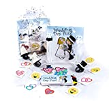 3 Pack of Children's Wedding Activity Set, Wedding Coloring Book and Crayons, Bubbles, Wedding Theme Ring Sucker. Fun Heart and Emoji Tattoos in an Organza Bag
