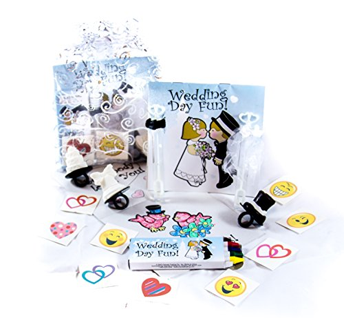 5 Pack of Children's Wedding Activity Set, Wedding Coloring Book and Crayons, Bubbles, Wedding Theme Lollipop. Fun Heart and Emoji Tattoos in an Organza Bag]()