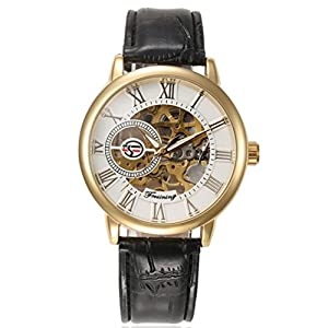 Men Watches,TOMIN Luxury Mens Steampunk Skeleton Stainless Steel Automatic Mechanical Wrist Watch (White)