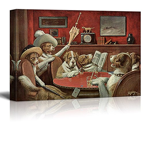 Dogs Playing Poker Series Sitting Up with A Sick Friend by by C M Coolidge