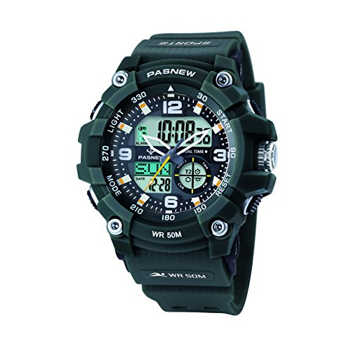 Pasnew-467 Sports Analogue-Digital Watches Mens Watches Boys Teenagers Watches Students Watch with Alarm Waterproof Stopwatch Dual-time Light Multi-Functional Wrist Watches