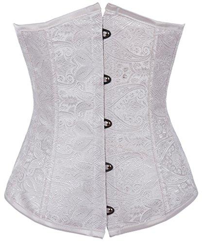 Alivila.Y Fashion Womens Vintage Lace Boned Renaissance Corset 2002-White-M