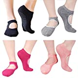 Yoga Socks Non Slip Skid Pilates Ballet Barre with Grips for Women Girls 4 Pack