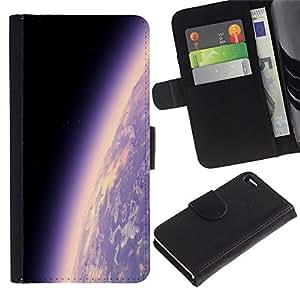 KingStore / Leather Etui en cuir / Apple Iphone 4 / 4S / Tierra del planeta Ambiente púrpura Universo Cosmos