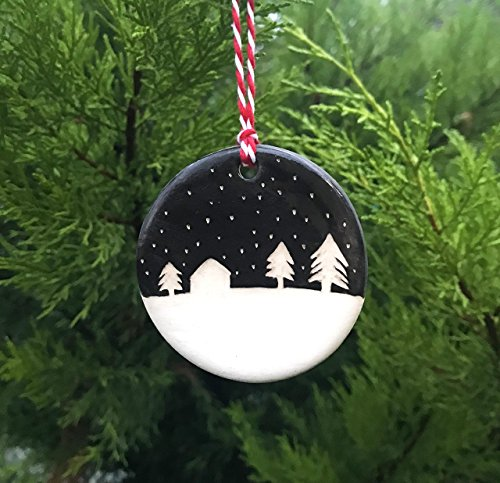 Handmade Ceramic Ornament with Snowy Night Silhouette