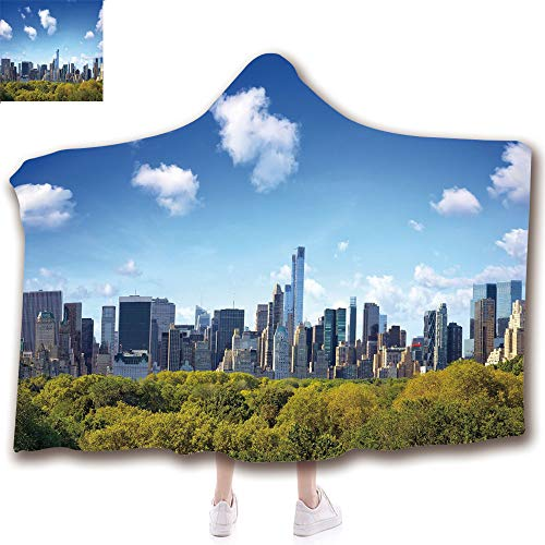 Fashion Blanket Ancient China Decorations Blanket Wearable Hooded Blanket,Unisex Swaddle Blankets for Babies Newborn by,Central Park in New York City Midtown High Rise,Adult Style Children Style