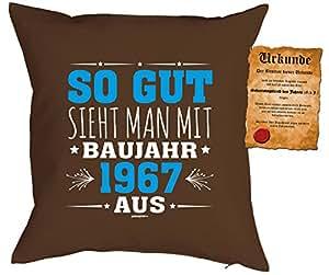 Jubiläums Cojín jahrgang 1967Incluye relleno y de cumpleaños Escrituras: So gut sieht Man con diseño Año 1967de