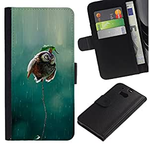 KingStore / Leather Etui en cuir / HTC One M8 / Voler pluie Drôle Nature Oiseau