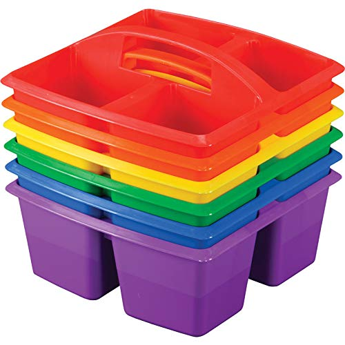 Colored Caddy - Really Good Stuff, Four-Equal-Compartment Caddies, Set of 4, Red, Orange, Yellow, Green, Blue, Purple,