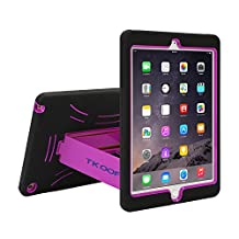 TKOOFN Heavy Duty Silicon Defender Multilayer Protective Shell Military Shockproof Bumper Case Cover with Built in Stand for Apple iPad Mini 2 / Mini 3 [with Retina Display] + Screen Protector + Stylus + Cleaning Cloth, Black/Purple - PT3405