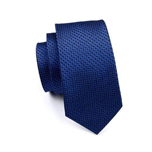 Set Silk Cufflinks Woven CAOFENVOO Necktie Jacquard N Hanky Cufflinks Tie Set Hanky 0881 Men's Necktie Blue Tie Men's qBB7aIw