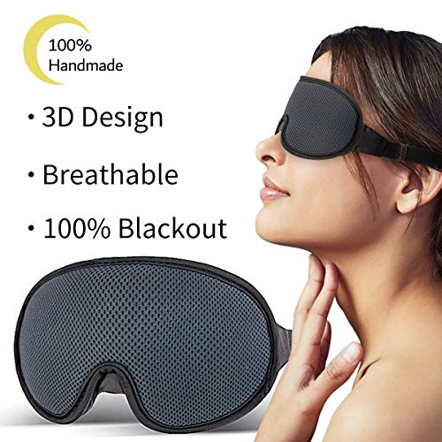 Silk Eye Mask for Sleeping,New Upgraded 3D Contoured Sleep Mask Men & Women,Ultra Soft Breathable with Adjustable Strap 100% Blackout Eye Shades Blindfold for Complete Darkness