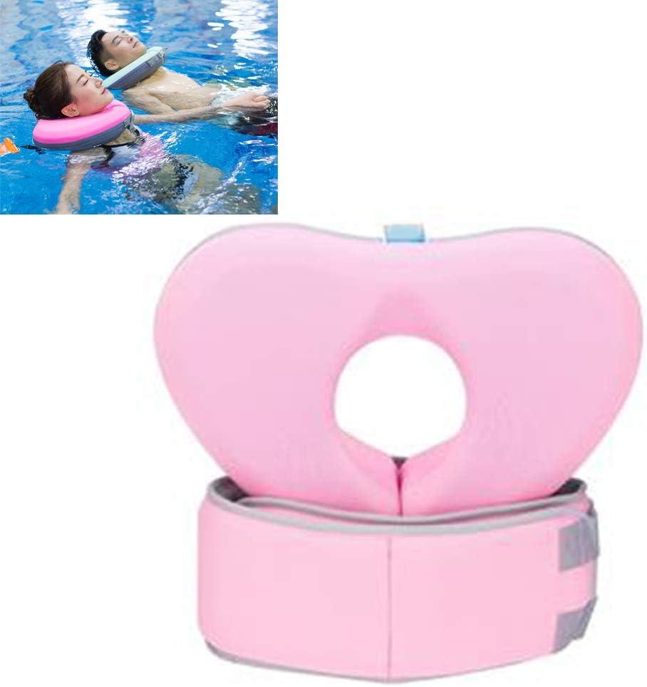 Creacom Conjunto de cinturón de Anillo de Cuello de natación, Conjunto de cinturón de Anillo de Cuello de natación Collar de Flotador de natación Niños Adultos Safty No Need Pump XL Pink