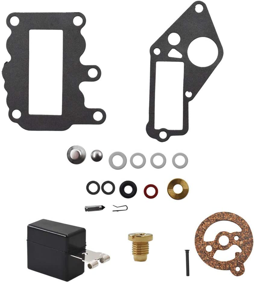 Carb Carburetor Rebuild Repair Kit with Float Fits for Johnson Evinrude 9.5 HP BRP OMC SysteMatched 1964-1973