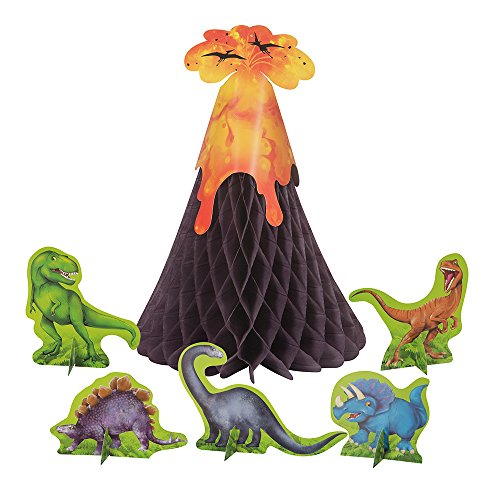 Dinosaur & Volcano Centerpiece Decoration, 6pc by Unique Industries