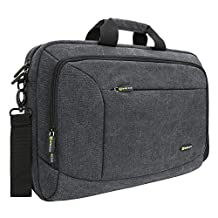 "Laptop Messenger Bag, Evecase 15.6"" Canvas Messenger Bag - Dark Grey w/ Handles, Shoulder Strap, and Multiple Accessory Pockets (for 15.6 in laptops, ultrabooks, or tablet pc)"
